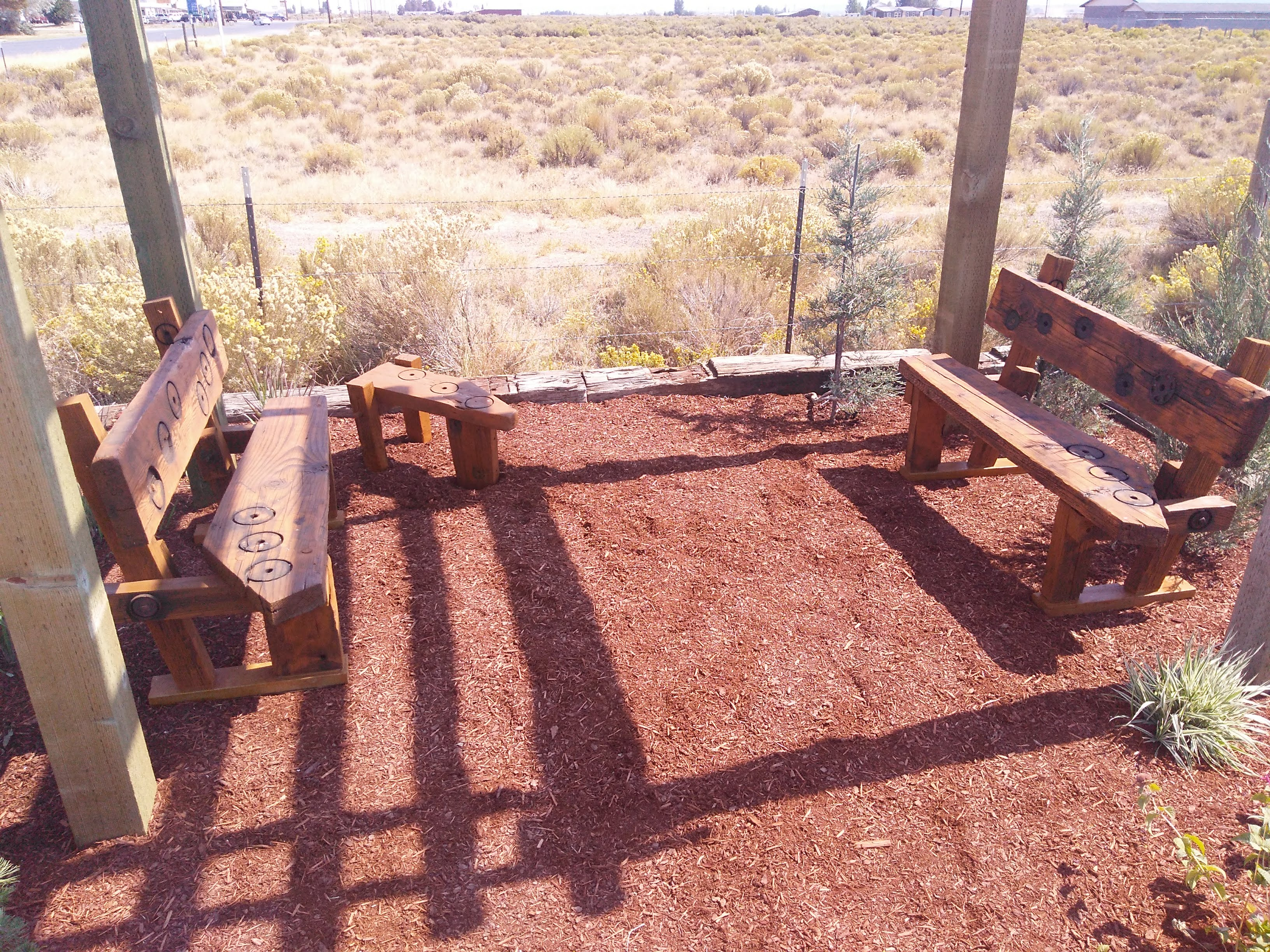 closer view of custom benches and table