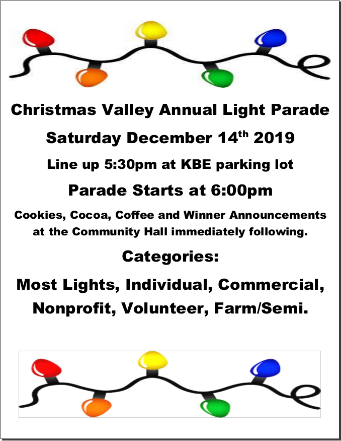 2019 Christmas Valley Light Parade, click to download PDF